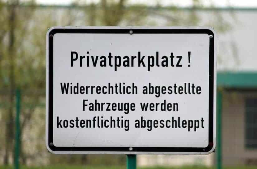 Parkverbot auf dem Privatparkplatz