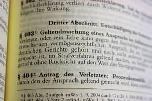Aufgeschlagenes Gesetzbuch mit dem Paragraphen 403 Strafprozessordnung im Bild.