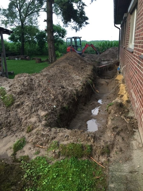 Überschwemmung nach einem Unwetter mit Starkregen.