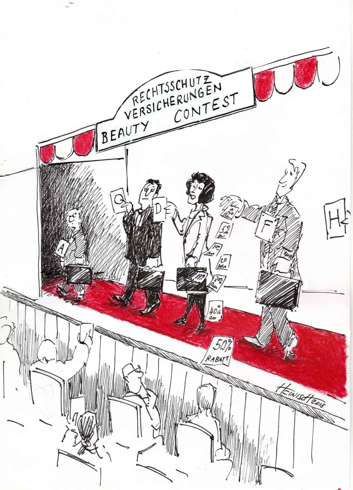 So stimmen Anwälte über die Rechtsschutzversicherungen ab (Karikatur: Philipp Heinisch)