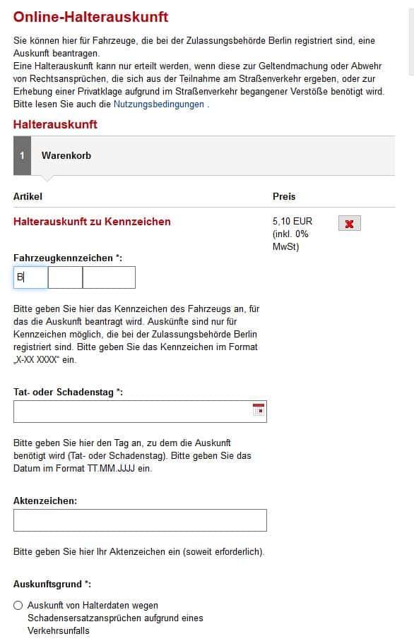 Online-Halterauskunft der Stadt Berlin.