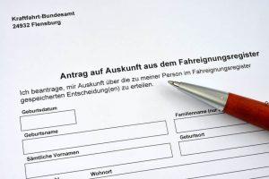 Antrag auf Auskunft aus dem Fahreignungsregister