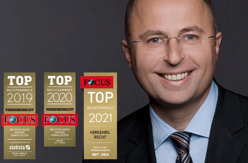 Gregor Samimi wurde 2019, 2020 und 2021 als Top-Anwalt im Verkehrsrecht ausgezeichnet.