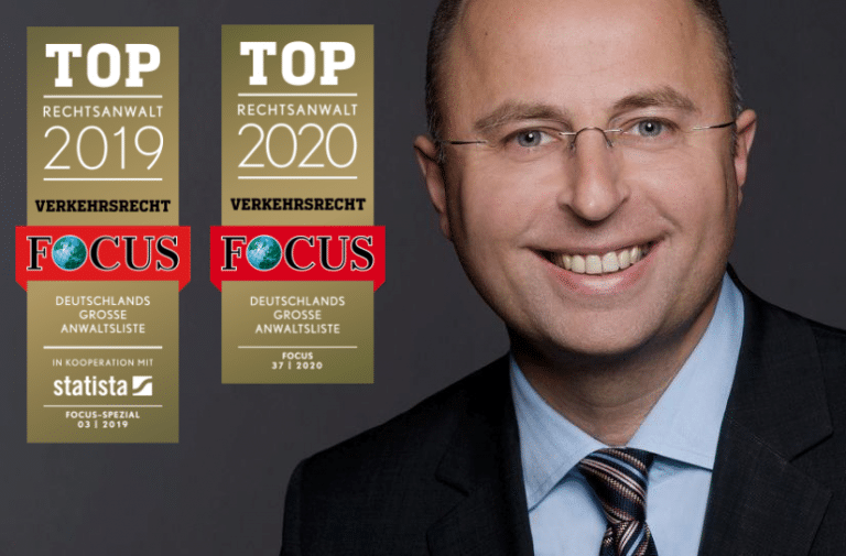 Rechtsanwalt Gregor Samimi ausgezeichnet mit der FOCUS Auszeichnung TOP Verkehrsanwalt 2019 und 2020.